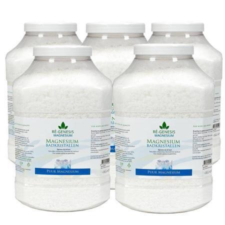 20 kg. Magnesium badkristallen 5 x 4 kg. in luxe potten.