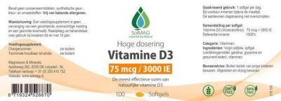 Etiket Vitamine D3 3000 IE - 75 mcg per softgel