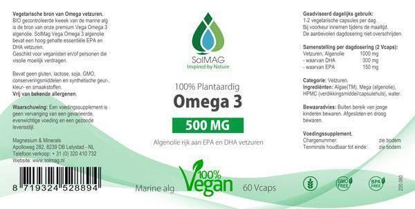 Etiket Omega 3 500 mg - 100% plantaardig
