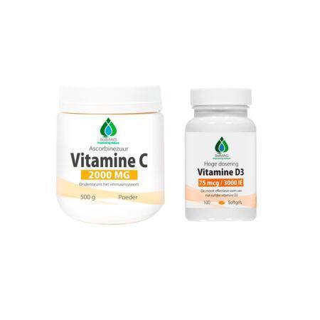 voordeelpakket vitamine c en vitamine D3 3000 IE