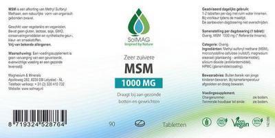 Etiket Solmag MSM tabletten